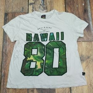 Maui and Sons Hawaii 1980 Floral Print White Tee